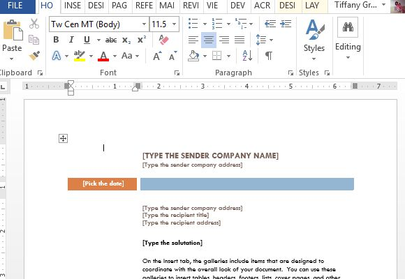 Business Letter Word Template