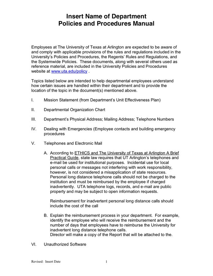 Departmental Policies and Procedures Manual Template in Word and ...