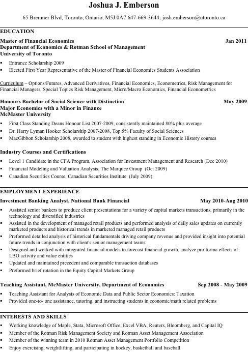 My Investment Banking Resume | Breaking Bay Street