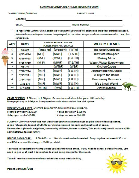 Zion Lutheran Preschool of Spring City, PA - summer registration