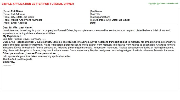 Funeral Driver Application Letter