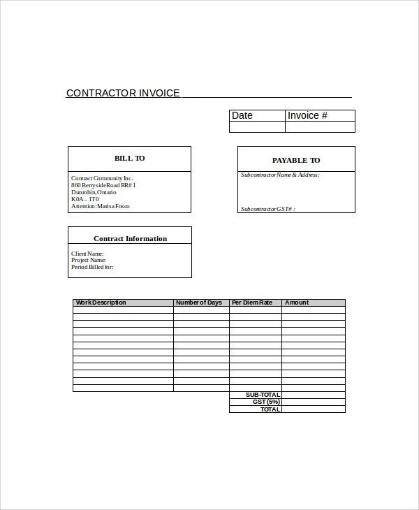 Sample Contractor Invoice - 9+ Examples in PDF, Word, Excel