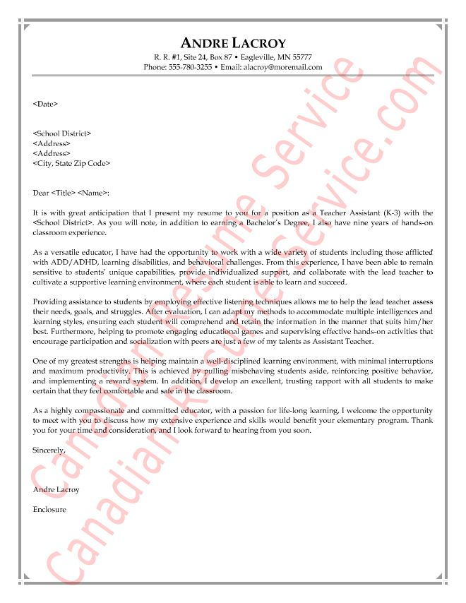 teacher cover letter examples education sample cover letters ...