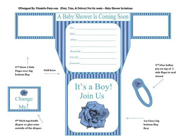 Boy Diaper Baby Shower Invitations | Printable Diaper Shaped Invites