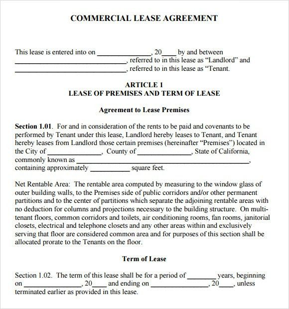 Sample Commercial Lease Agreement   7+ Example, Format