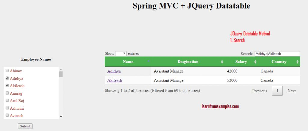 Advacne Features of Jquery Datatable in Spring MVC with Example