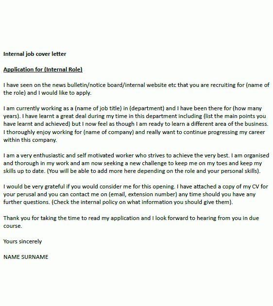 internal job application cover letter