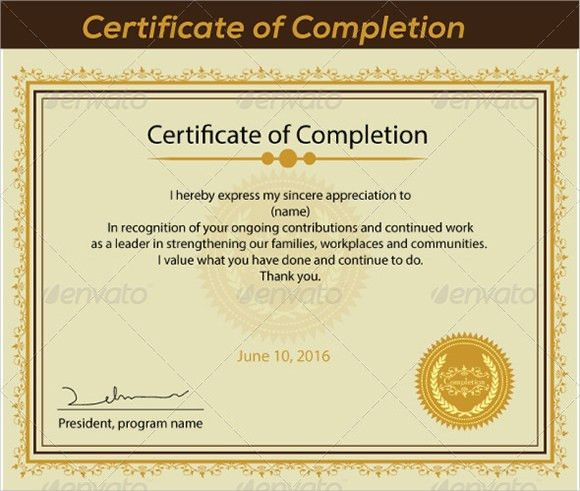 Sample of certificate of completion 13 certificate of completion sample certificate of completion 25 documents in vector eps psd yadclub Images