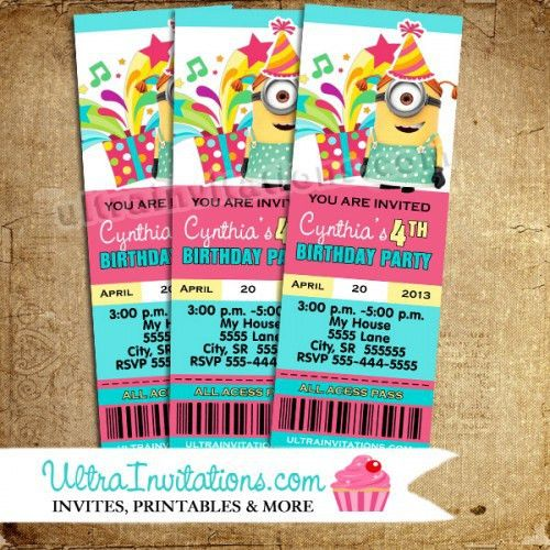 Despicable Me Birthday Ticket Pass Photo Invitations, Printable or ...