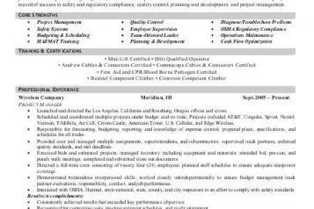 Fiber Technician Resume Objective - Reentrycorps