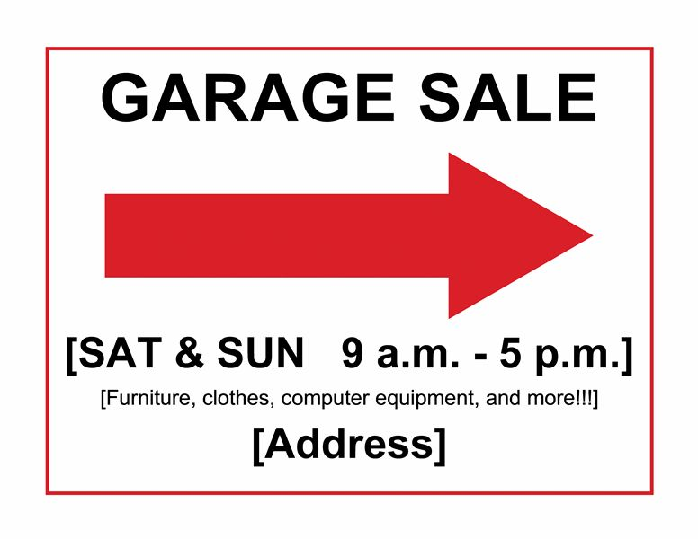 Garage sale sign - Office Templates