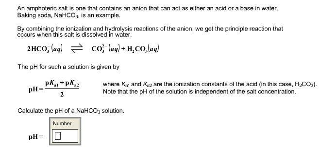 An Amphoteric Salt Is One That Contains An Anion T...   Chegg.com