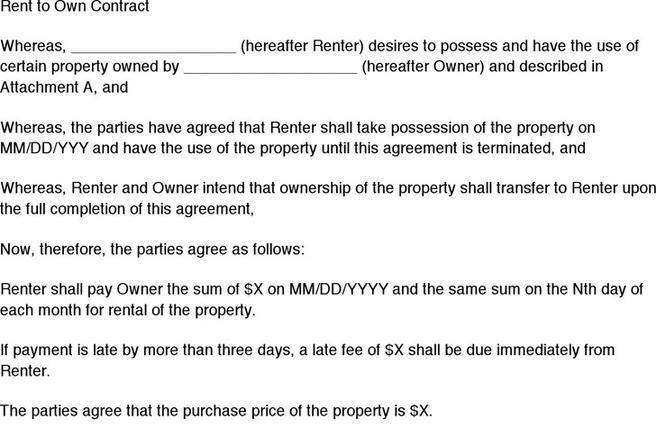 Rent To Own Contract. Rent To Own Homes: A Buyer'S Guide To The ...