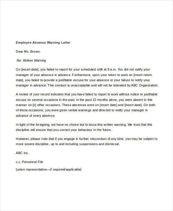 Employee Warning Letter Template - 6+ Free Word, PDF Format ...