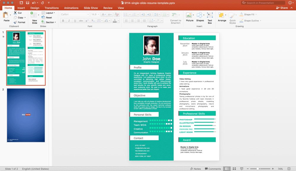 Powerpoint Resume Templates - Casseh.info