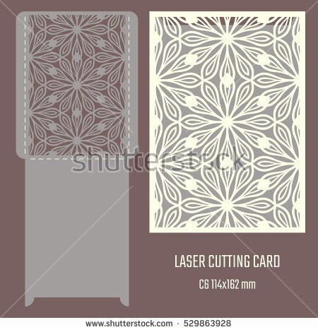 DIY laser cutting vector envelope. Wedding die cut invitation ...