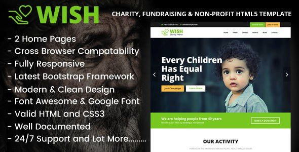 Wish - Charity, Fundraising & Non-Profit HTML5 Template by codeecstasy