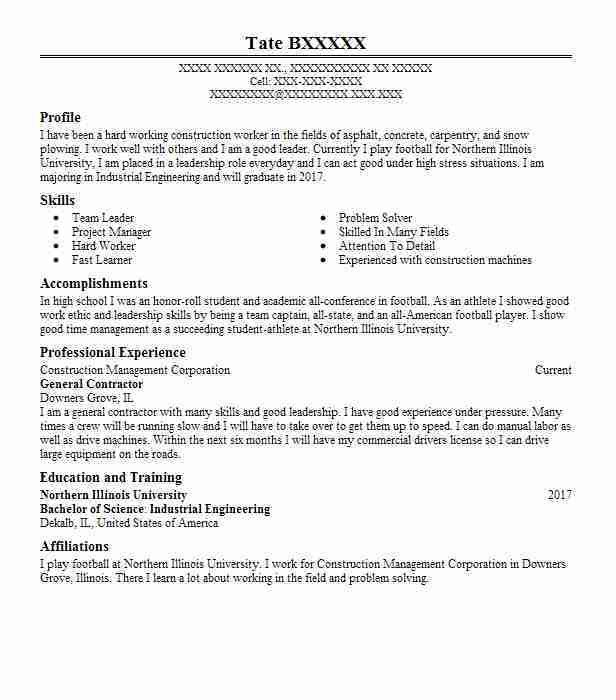 Best General Contractor Resume Example | LiveCareer