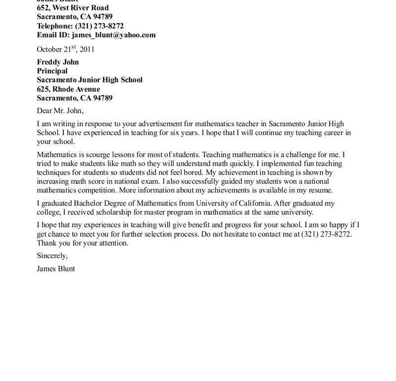 Shining Design Sample Cover Letter For Teacher 16 Teachers - CV ...