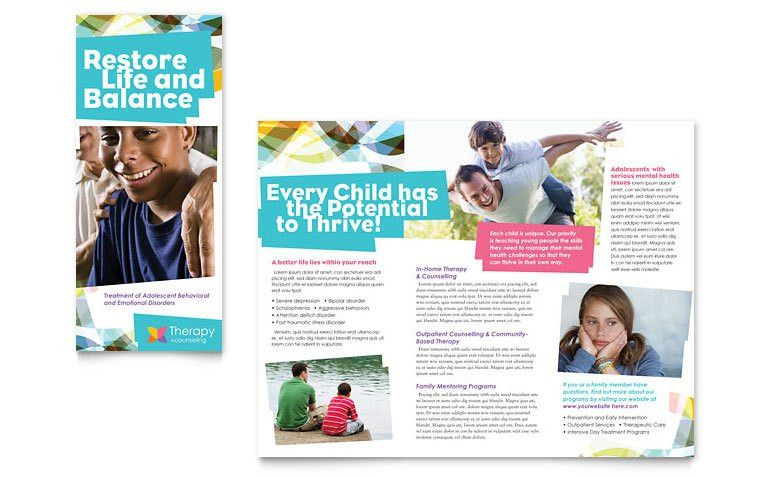 Adolescent Counseling Tri Fold Brochure Template - Word & Publisher