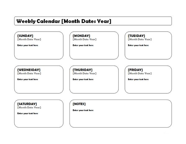 Weekly Blank Calendar Landscape - Free Printable Templates