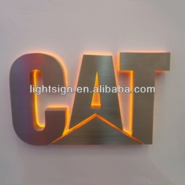 Stainless steel cut out letter backlit sign outdoor, stainless ...