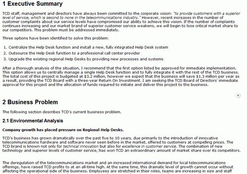Basic Business Case Template. a quick one page business plan ...