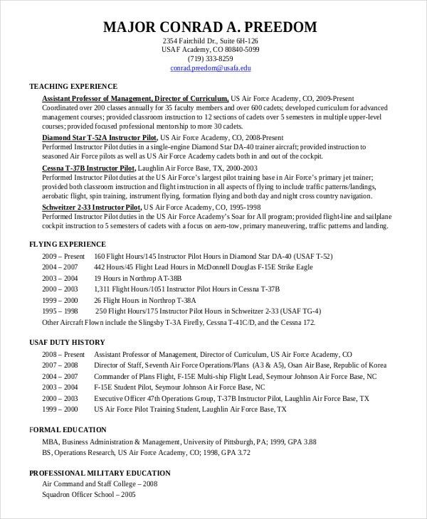 military pilot resume pilot resume download military resume