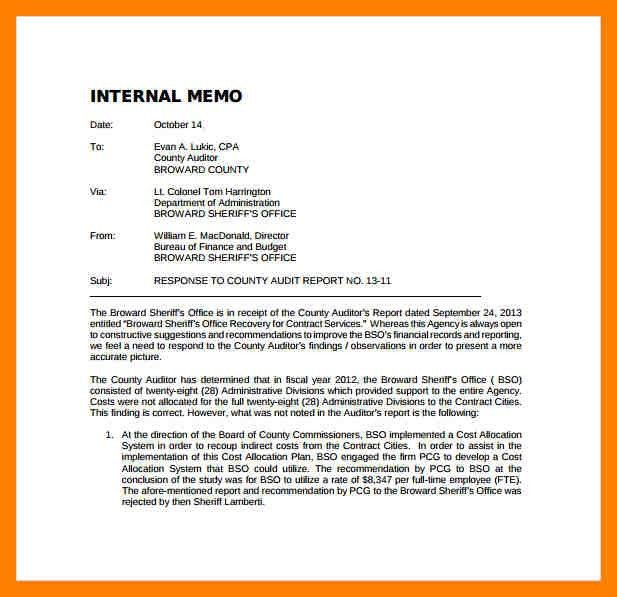Audit MemosAudit Memo. 5+ Internal Memo Examples | Emt Resume ...