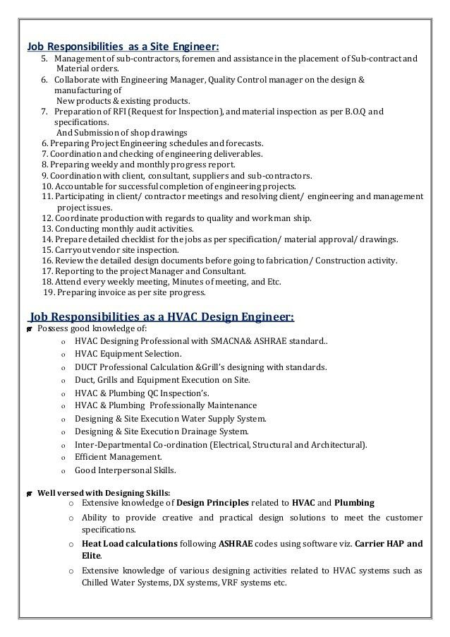 Senior Mechanical Engineer & QC (HVAC & Plumbing) .