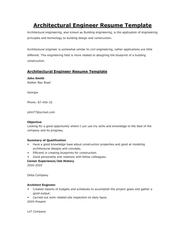 Simple Architect Engineer Resume Template with Resume Objective ...