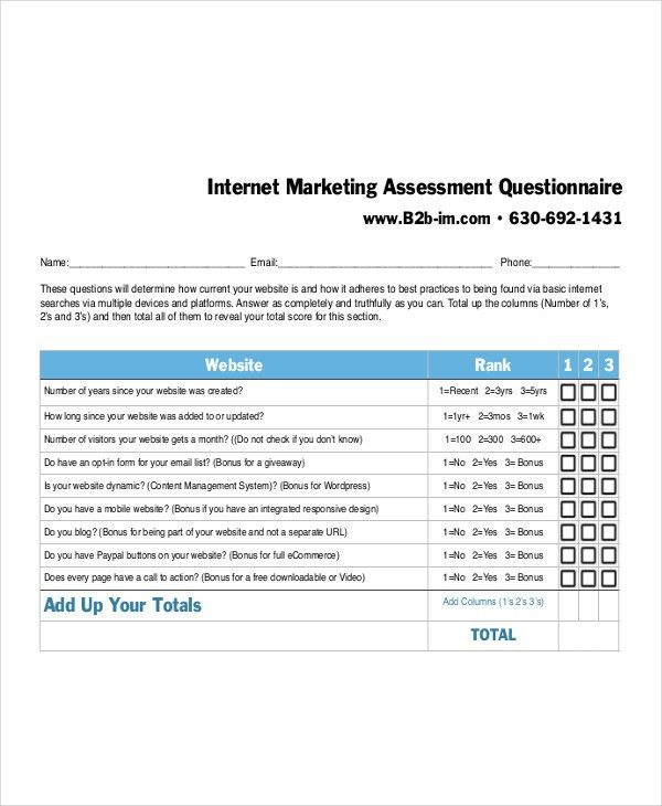 7+ Marketing Questionnaire Examples, Samples