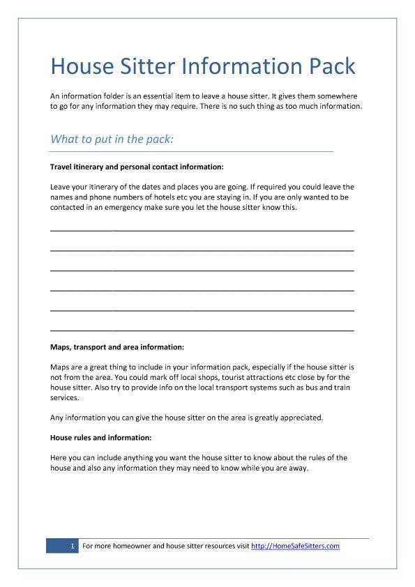 Free House Sitting Agreements, Checklists and Forms