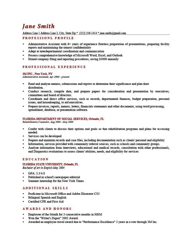 Sample Resume Profile | jennywashere.com