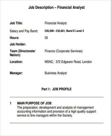 Financial Analyst Job Description. Functional Planning Processes ...