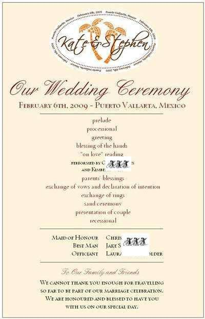 Wedding Program Wording - Destination Weddings in Jamaica - Best ...