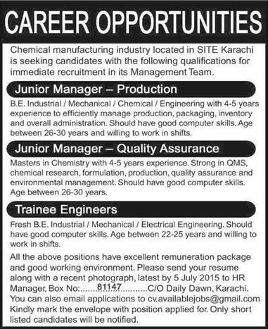 Production / Quality Assurance Managers & Trainee Engineer Jobs in ...