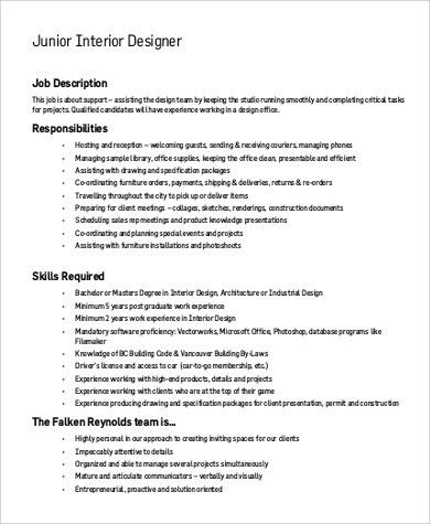 Sample Interior Designer Job Description - 9+ Examples in PDF, Word