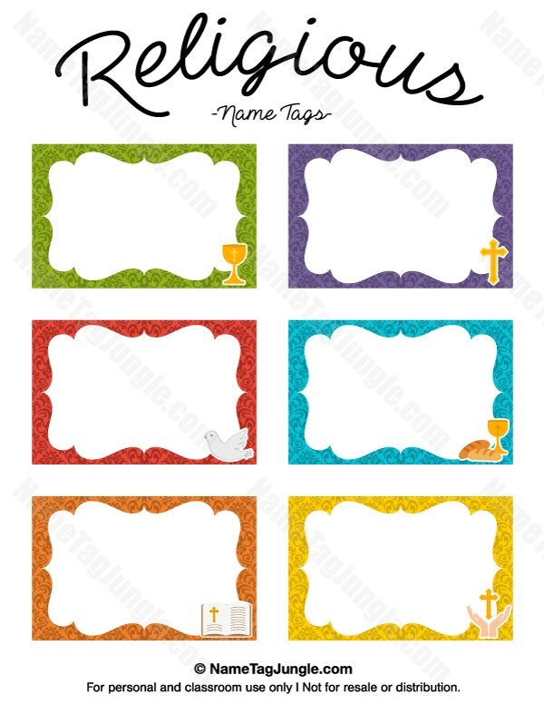 Free printable religious name tags. The template can also be used ...