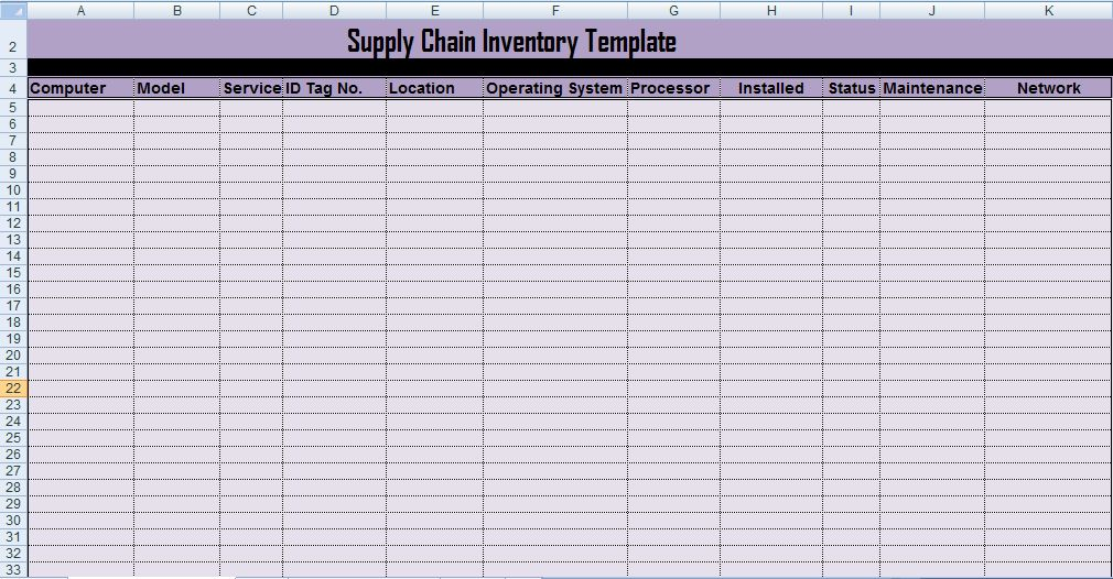 Professional Supply Inventory Template Excel - Microsoft Excel ...