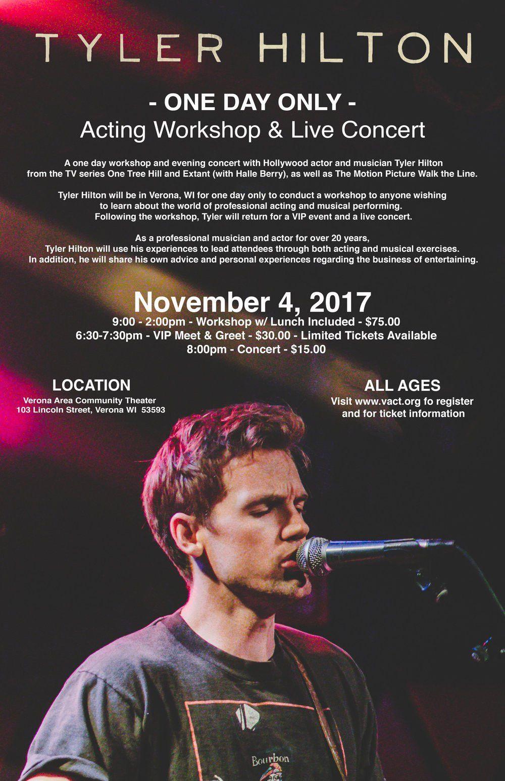 Tyler Hilton Acting Workshop & Live Concert — Verona Area ...