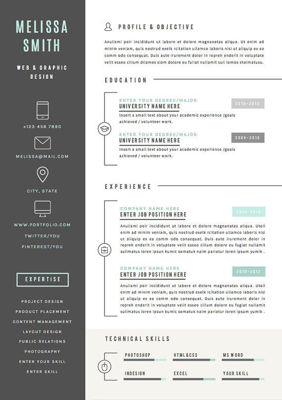 Resume Template 4 pages CV Template Cover Letter for MS | Design ...