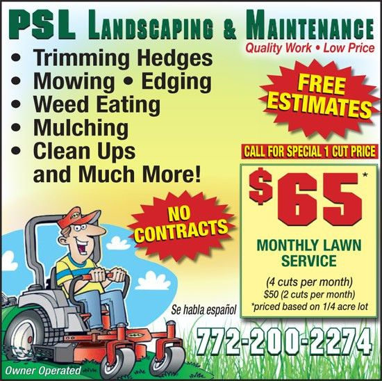 Coupons for PSL Landscaping and Maintenance | My Living Magazines