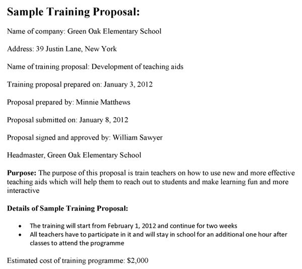 Good Training Proposal Template