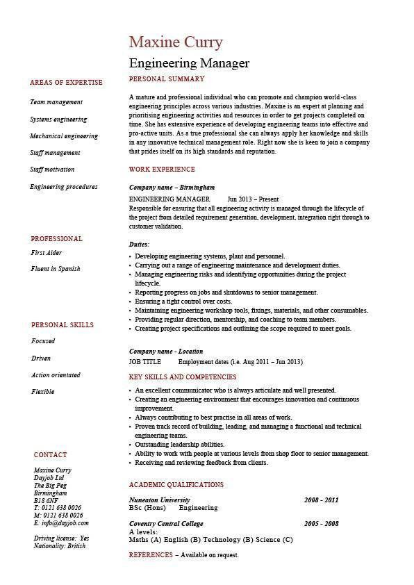 Engineering Manager resume, sample, template, example, managerial ...