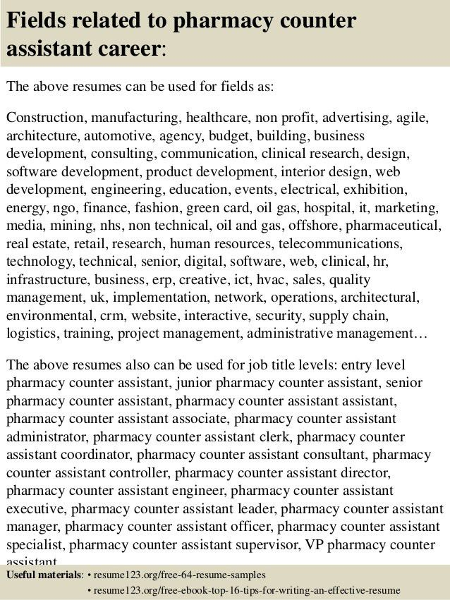 Top 8 pharmacy counter assistant resume samples