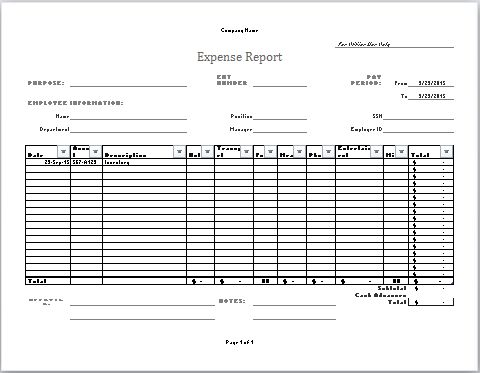 MS Excel Company Expense Report Template | Document Templates