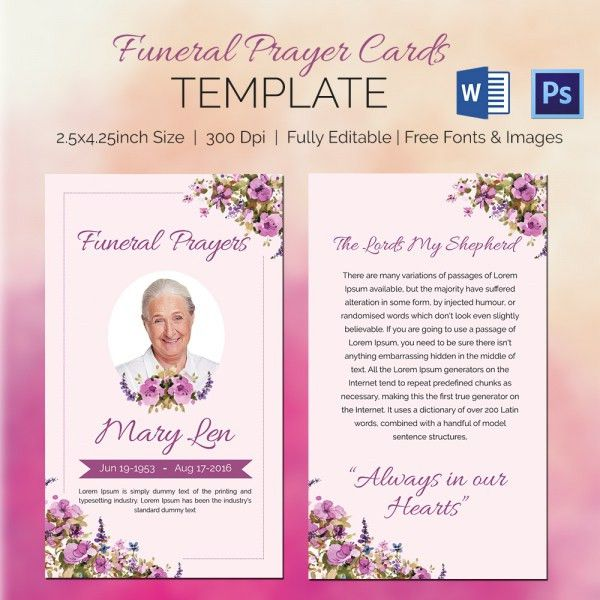 5 Funeral Prayer Cards - Word, PSD Format Download | Free ...