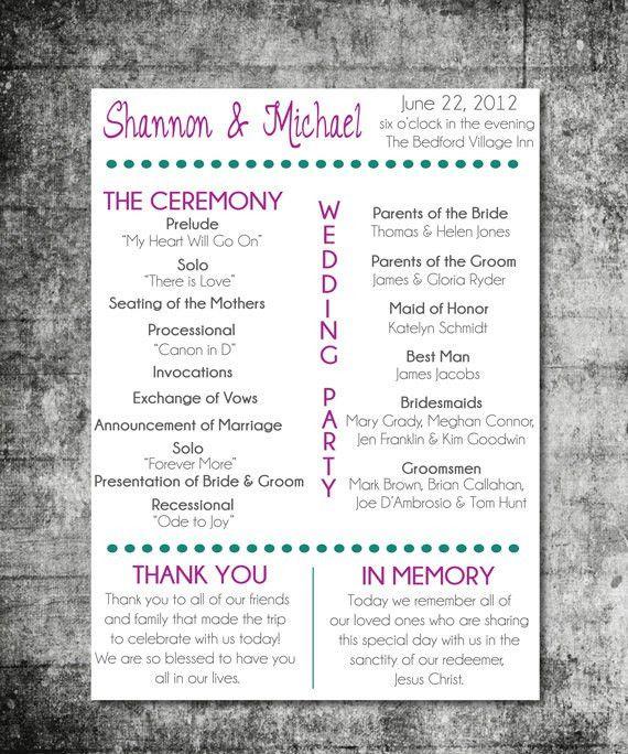 Items similar to Printable Wedding Program.....Playbill Design on Etsy