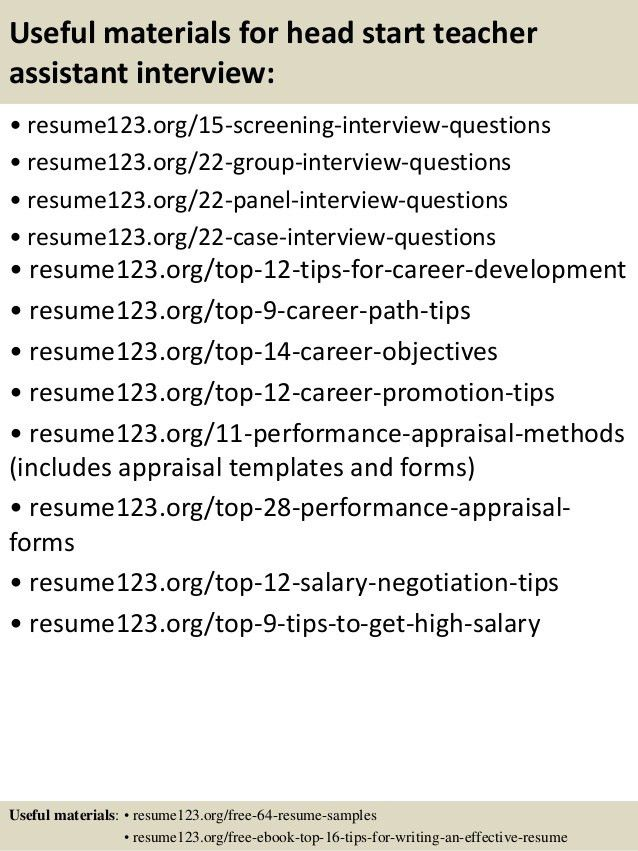Top 8 head start teacher assistant resume samples